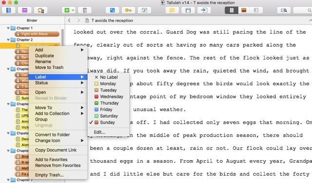 color coding scrivener