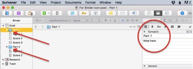 Scrivener Binder Icons Explained