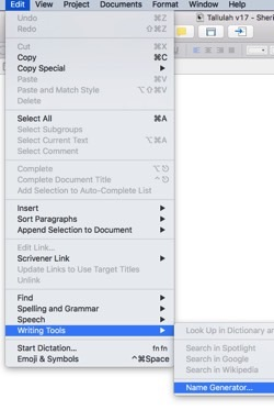 Scrivener Name Generator