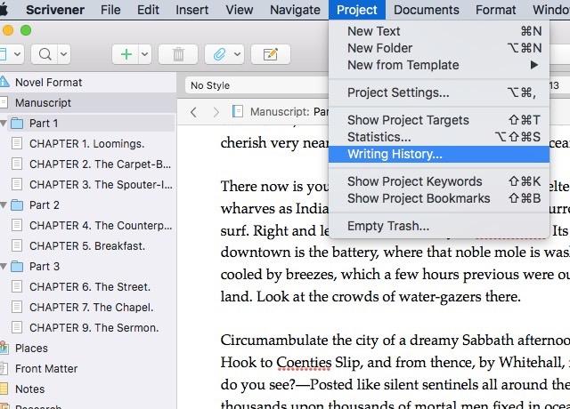 Scrivener Project History