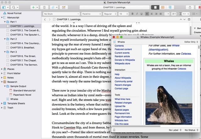 Quick Reference Window Scrivener