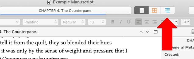 Scrivener Outline Mode