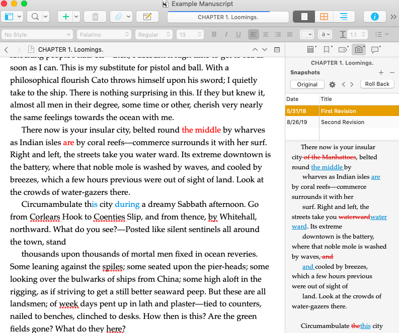 Scrivener's Revision Mode and Snapshots