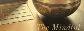 Meditation bowl with laptop